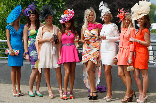 Ladies attending at the Royal Ascot Horse races event